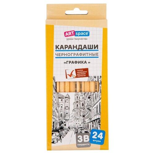Купить ArtSpace Набор карандашей чернографитных Графика 3B, 24шт (HY006_15117) бежевый, Карандаши