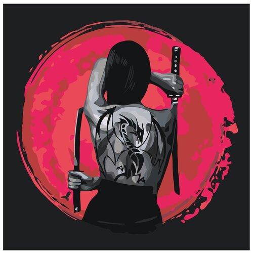 Девушка с татуировкой дракона/ Катана Раскраска картина по номерам на холсте с неоновыми красками AAAA-RS063 40х40