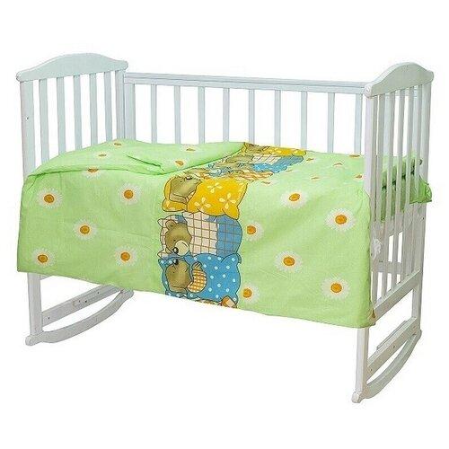 Купить Комплект постельного белья для новорожденного (бязь) Мама шила Мишки-лежебоки 3 предмета зеленый (Размер пододеяльника 110x145, Размер простыни 100x150, Размер наволочки 40x60), МамаШила, Постельное белье и комплекты