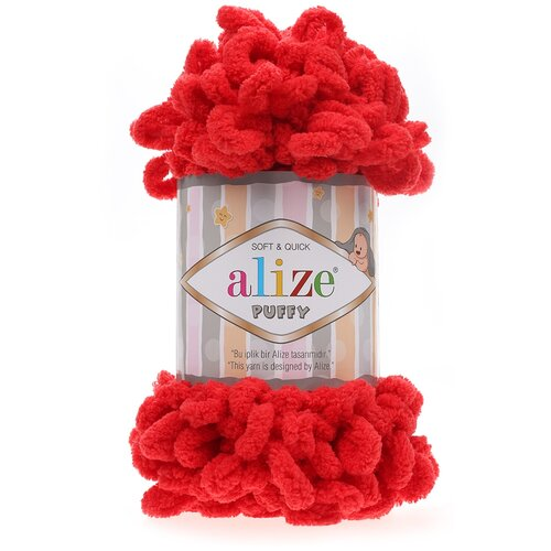 Купить Пряжа для вязания Alize 'Puffy' 100г 9м (100% микрополиэстер) (56 красный), 5 мотков