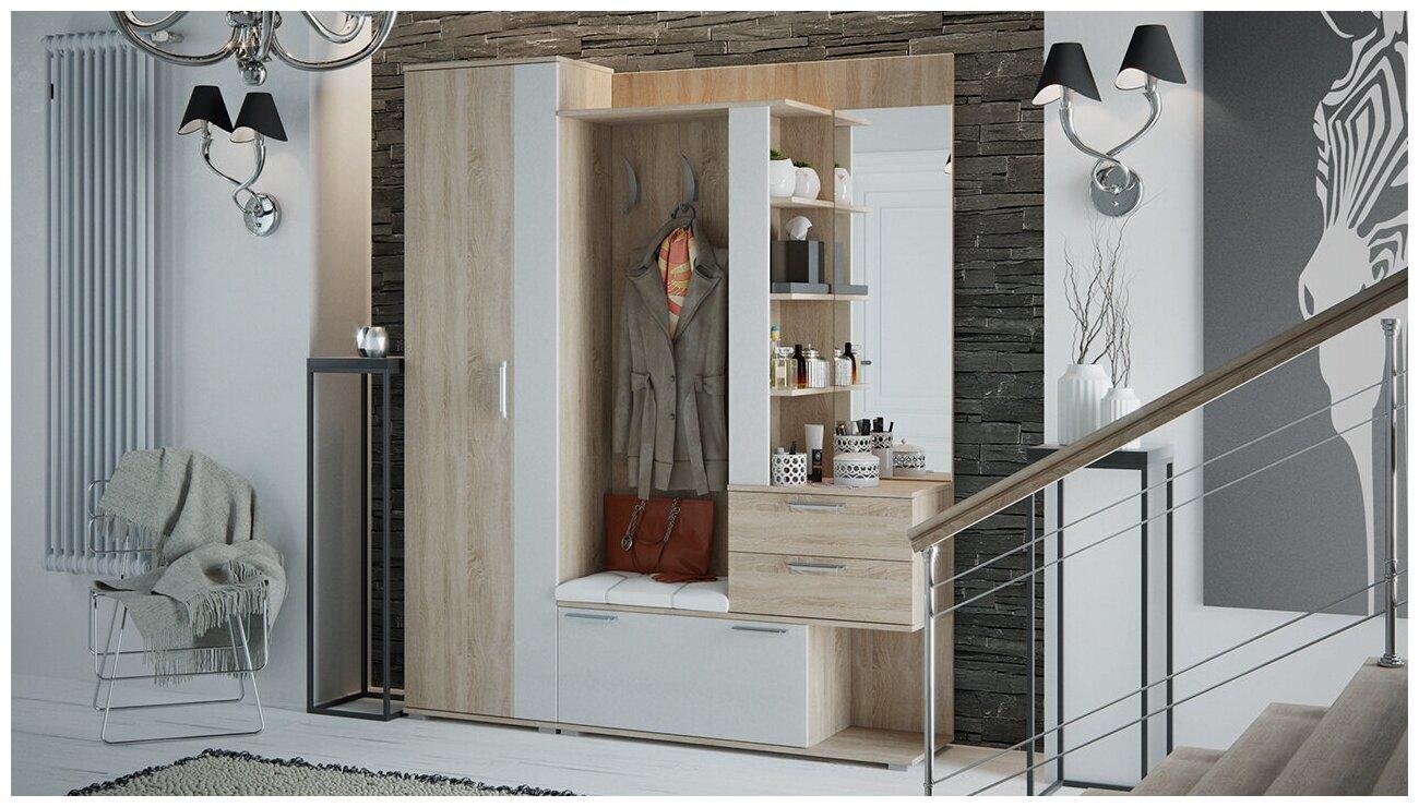 Эрика Набор мебели в прихожую №1 Дуб сонома/Белый — купить по выгодной цене на Яндекс.Маркете