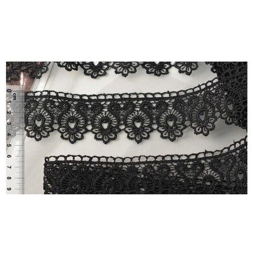 Купить Кружево гипюр KRUZHEVO TR 808 шир.45мм цв.05 черный уп.9м, Декоративные элементы