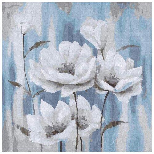 Купить Картина по номерам Белые маки на голубом фоне , 30x30 см, Molly, Картины по номерам и контурам