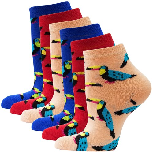 Носки женские HOSIERY 72814 р 23-25 (36-39 размер ноги) туканы оранжевые,красные,синие 6 пар