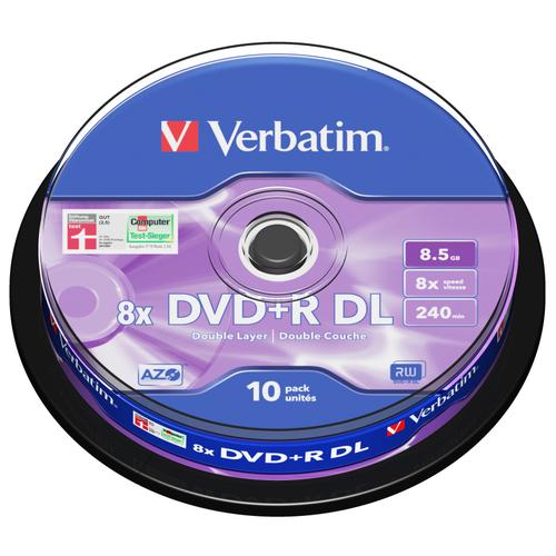 Диск DVD+R Verbatim 8.5Gb 8x DL AZO 10 шт. cake box