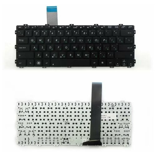 Клавиатура для ноутбука Asus F301, R300, X301, X301A, X301K Series. Плоский Enter. Черная, без рамки. PN: AEXJ6U00010
