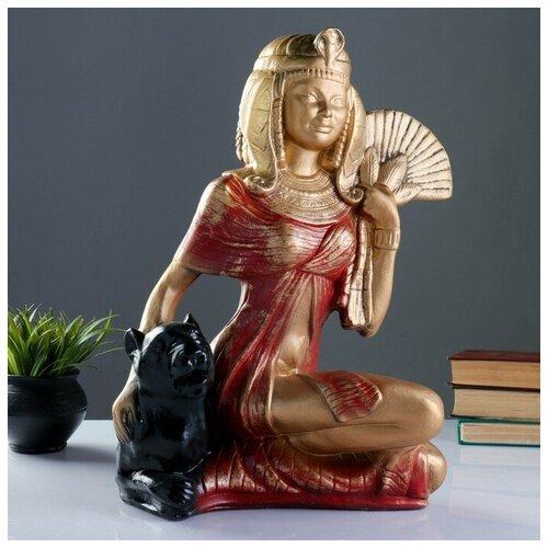 Фигура Клеопатра с пантерой сидя большая бронза/красный 21х39х51см фигура лев сидя с шаром бронза 29х18х45см