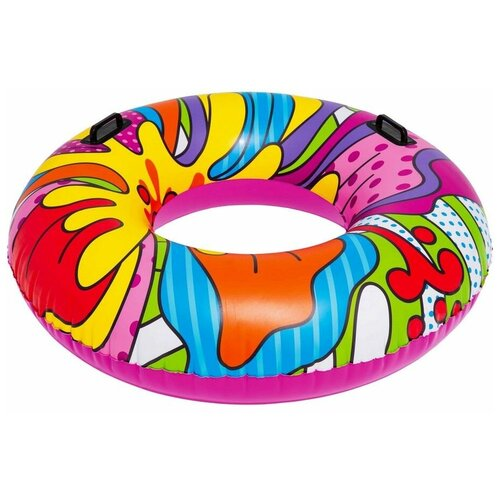 Надувной круг с ручками Поп-арт, 119 см, от 12 лет, BestWay надувной мяч пляжный поп арт 91 см bestway арт 31044