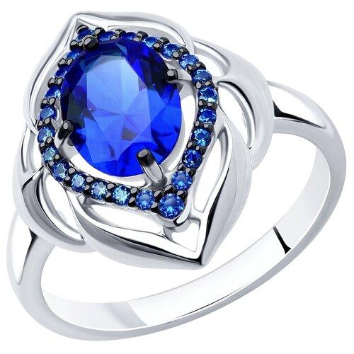 SOKOLOV Серебряное кольцо с фианитом и сапфировым корундом 88010035, размер 19