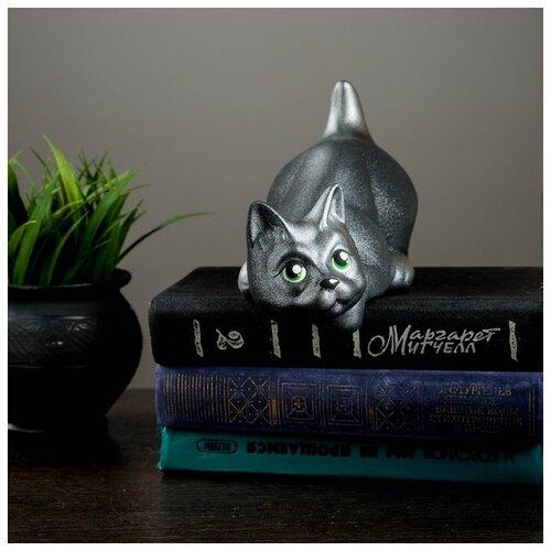 Фигура Кот Нырок чёрный с серебр подпалом 10×9×18см 671073 фигура кот воин 6 чёрный 19х9х29 5см 114 93 284946