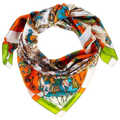 Шелковый платок на шею/Платок шелковый на голову/женский/Шейный шелковый платок/стильный/модный /21kdgPL903001-3vr белый, оранжевый/Vittorio Richi/80% шелк,20% полиэстер/90x90