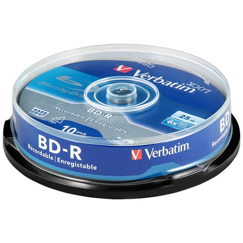 Фото - Диск BD-R 25Gb Verbatim 6x cake (43742), упаковка 10 штук диск bd r 50gb cmc 6x full printable bulk упаковка 10 штук