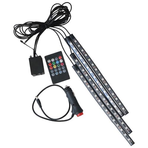 Подсветка салона автомобиля в зоне ног , управление с многофункционального пульта(размер лент 28 см.)