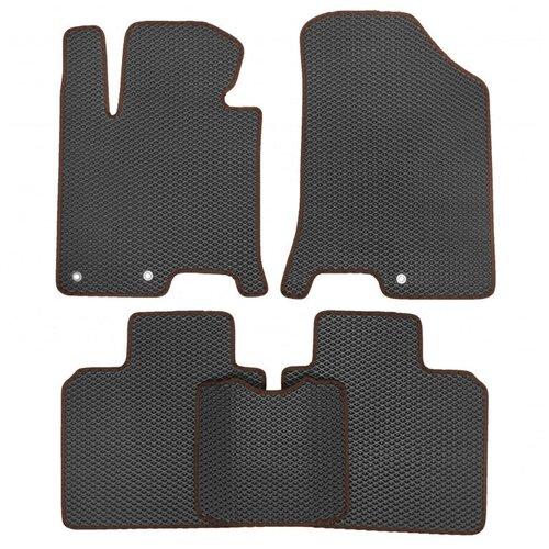 Комплект ковриков для салона ЕВА Dodge Caliber 2006 - 2013 (коричневый кант)Vicecar