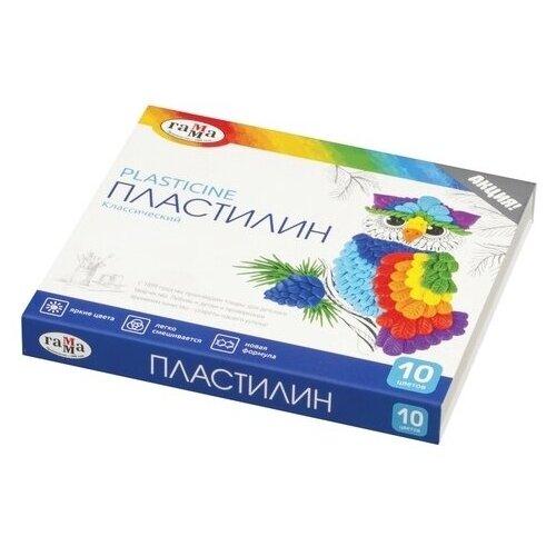 Купить Пластилин ГАММА Классический 10 цветов 200 г со стеком (281032), Пластилин и масса для лепки