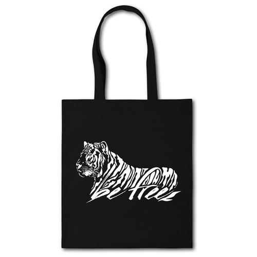 Сумка-шоппер с принтом «Be free» черная