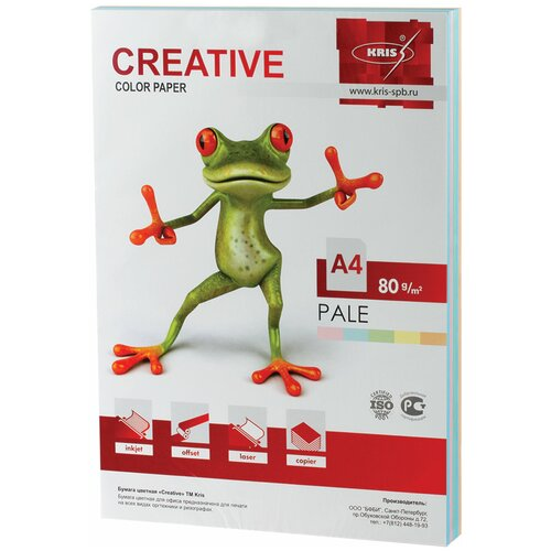 Фото - Бумага Creative A4 Color Pale 80 г/м² 250 лист., голубой/желтый/зеленый/оранжевый/розовый бумага creative a4 студенческая 80 г м² 100 лист белый