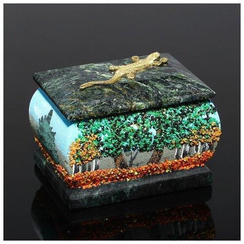 Фото - Шкатулка с ящеркой Осень, 5х7 см, каменная крошка, змеевик 1144333 ёлочка змеевик 19 см