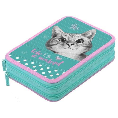 Berlingo Пенал Curious cat (PK06333) зелeный