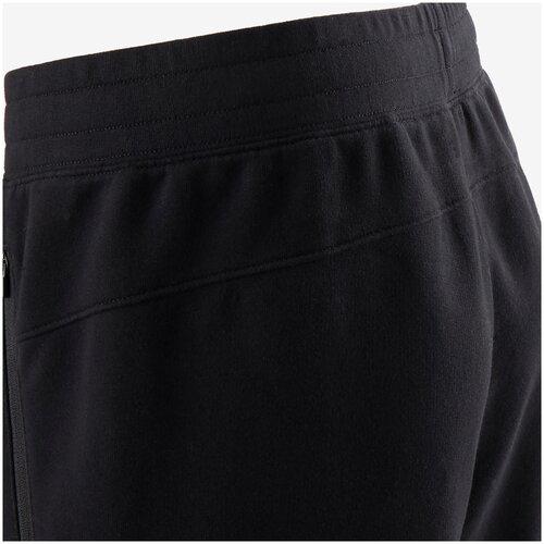 Брюки для джоггинга и фитнеса с карманами на молнии мужские 500 черные, размер: M / W32 L33, цвет: Черный NYAMBA Х Декатлон