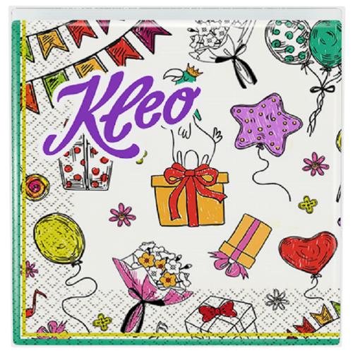 Салфетки бумажные Kleo День Рождения белый, 3 слоя, 20 листов, 33*33 см