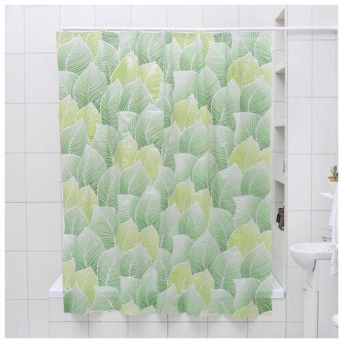 Фото - Штора для ванной Листья, 180х180 см. EVA 4442891 штора для ванной доляна графика 180х180 732658 синий