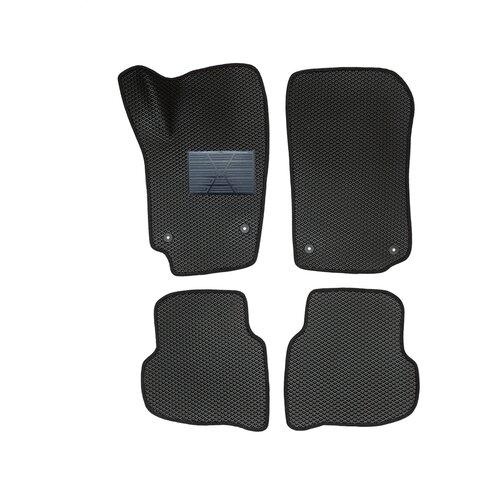 Автомобильные коврики салона Autodefender EVA c пластиковым подпятником для Volkswagen Polo V (седан) 2010 - 2019 (комплект 5 шт.) черный ромб с черным кантом