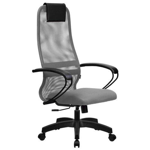 Кресло для руководителя Метта SU-B-8, подл.100/осн.001, обивка: текстиль, цвет: ткань-сетка светло-серая №24