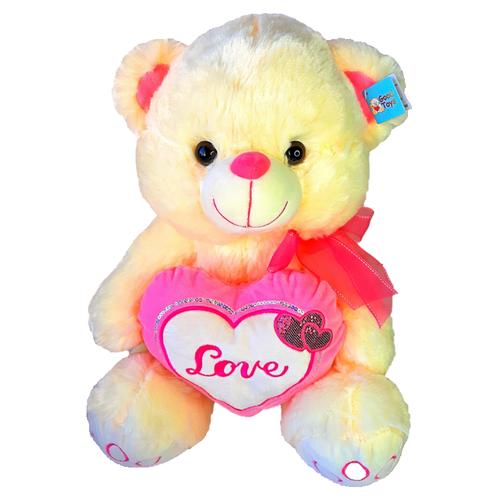 Мягкая игрушка Медведь с сердцем и бантом, желтый, 40см