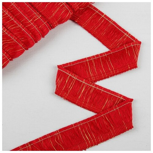 Тесьма для штор бахрома 4см*12±1м цв красно-золотой 1385875