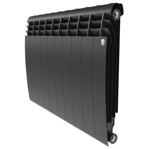 Радиатор секционный биметаллический Royal Thermo BiLiner 500 x10 подключение универсальное боковое Noir Sable радиатор отопления royal thermo биметаллический biliner 500 new noir sable 8 секций