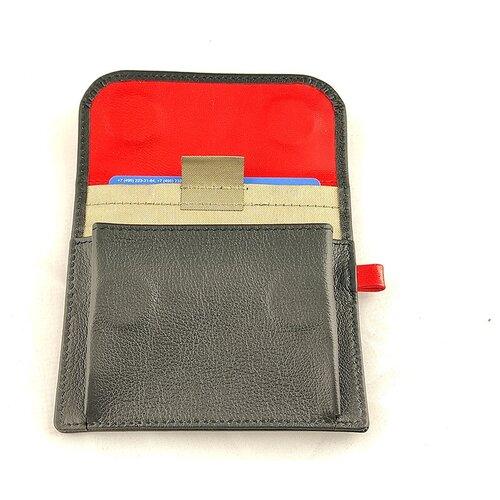 Экранирующий конверт для автомобильных ключей и банковских карт #Envel-black/red. Чёрно-красная комбинированная кожа