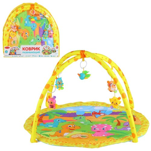 Купить Детский коврик развивающий для малышей Smart Baby с подвесками-погремушками, коврик для ползания детский, коврик для детей, игровой коврик детский, коврик для малышей, коврик для ребенка, коврик для детей игровой, мягкий, размер 82 х 64 см, с динозаврами, Развивающие коврики