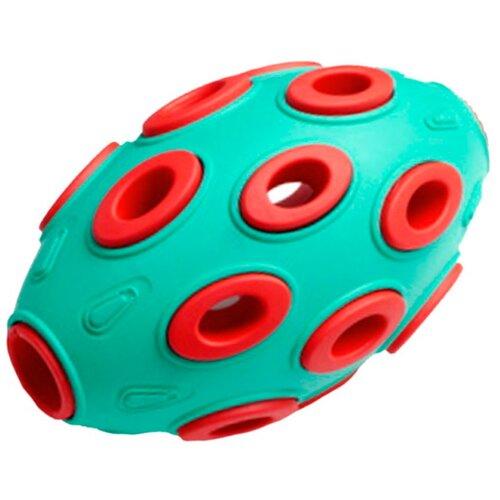 Игрушка для собак Homepet Silver Series мяч регби каучук бирюзово-красный 7,6 х 12 см (1 шт)