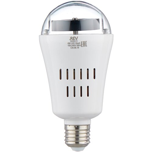 Лампа светодиодная REV Disco RGB, E27, A60, 4Вт