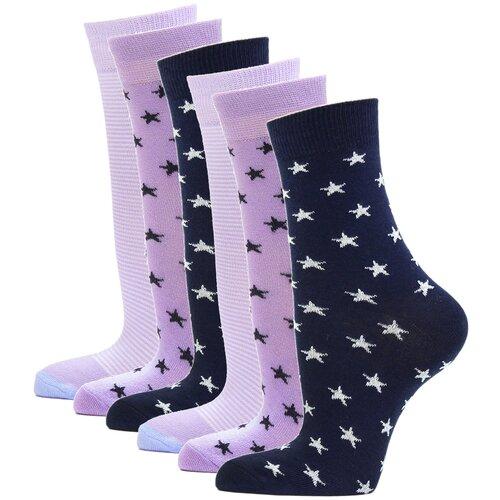 Носки женские повседневные с рисунком HOSIERY 75217 р 23-25 (36-39 размер ноги) сиренево-синий 6 пар
