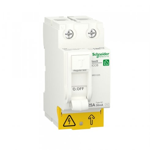 Фото - SE RESI9 Выключатель дифференциального тока (УЗО) 25А 2P 30мА тип AC выключатель schneider electric 11463 дифференциального тока узо 4п 40а 30ма вд63 ас серия домовой