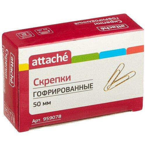 Скрепки Attache, 50 мм, гофрированные золотистые 30 шт.в карт.уп 3 упаковки
