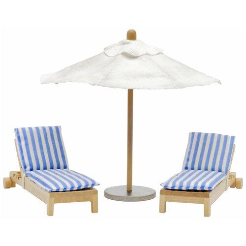 Lundby Шезлонги с зонтиком (LB_60904800) синий/коричневый/белый