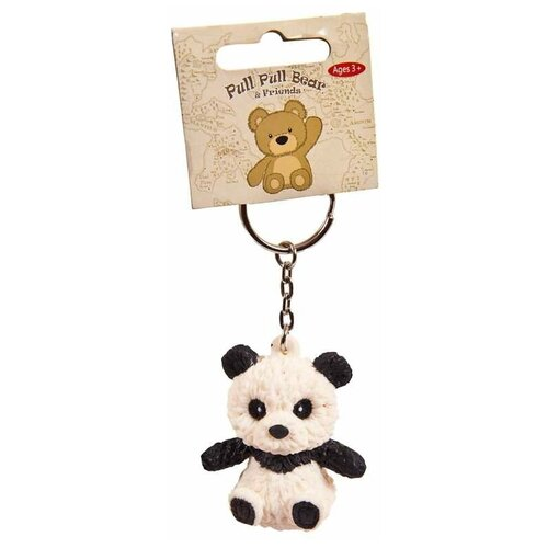 Игрушка-мялка Junfa toys Pull Pull Bear Панда на брелке черный/белый