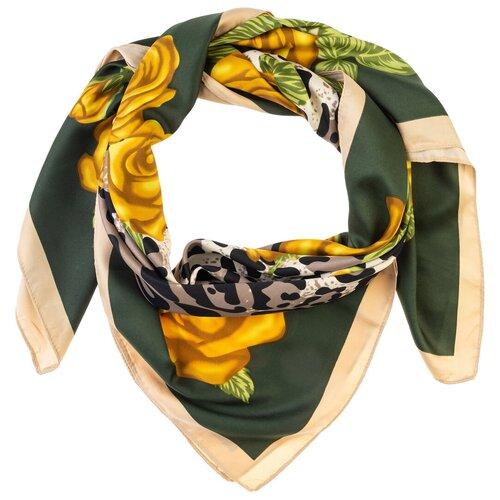 Шелковый платок на шею/Платок шелковый на голову/женский/Шейный шелковый платок/стильный/модный /21kdgpl326-849a4vr зеленый,желтый/Vittorio Richi/100% шелк/90x90