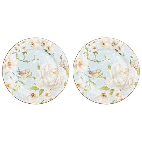 Elan gallery Набор десертных тарелок Дикая роза 19 см, 2 шт голубой/белый недорого