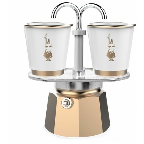 Набор гейзерная кофеварка Bialetti Mini Express Gold на 2 порции 90 мл + 2 чашки
