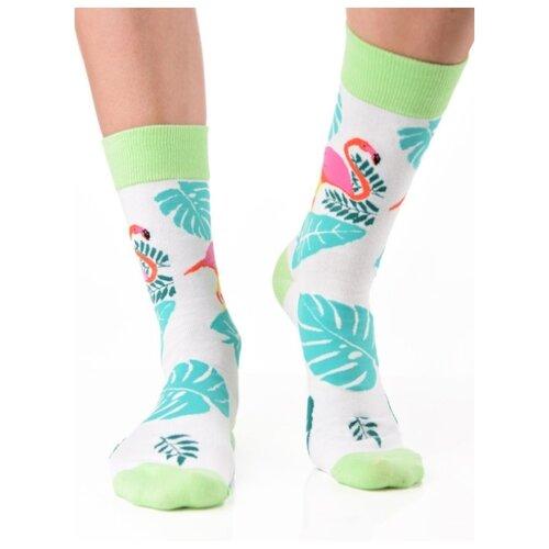 Яркие цветные носки унисекс, прикольные красочные носки/ Модные носки с мятно-голубым рисунком/ Высокие носки из натурального хлопка с рисунком Фламинго и листьями Монстеры