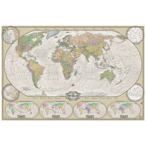 Геоцентр Карта Мира политическая в ретро стиле (МИР35РАГТ), 116 × 77 см