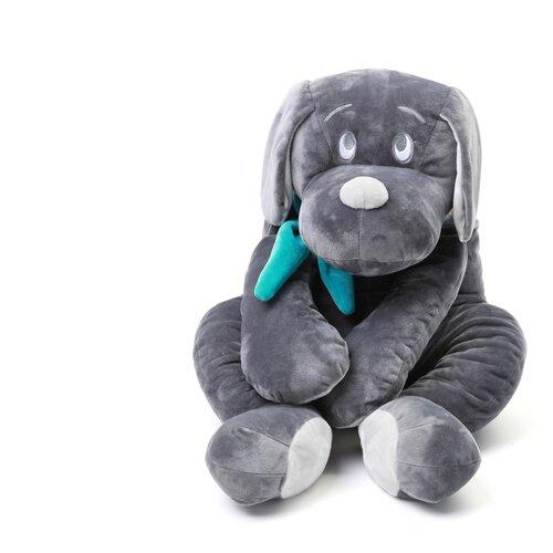 Мягкая игрушка Собака 30 см серый/бирюзовый