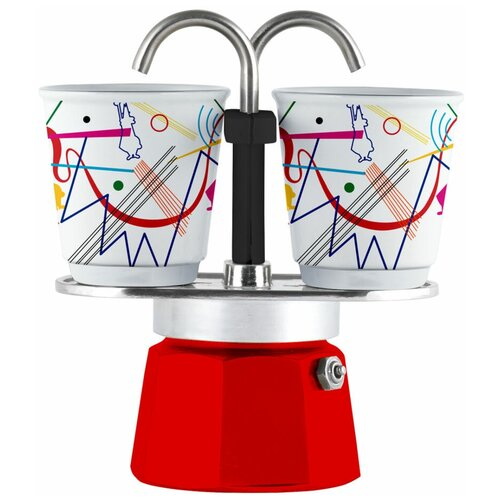 Набор гейзерная кофеварка Bialetti Mini Express Arte Kandinsky с 2 стаканами