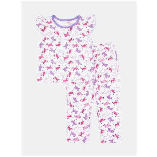 Купить 2730927 Пижама: Футболка, брюки Пижамы 2020 , КотМарКот, размер 116, состав:100% хлопок, цвет Белый, KotMarKot, Домашняя одежда