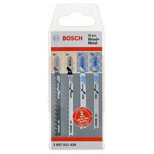 Набор пилок для лобзика по дереву и металлу (17 шт.) Bosch 2607011439 набор пилок для лобзика рос