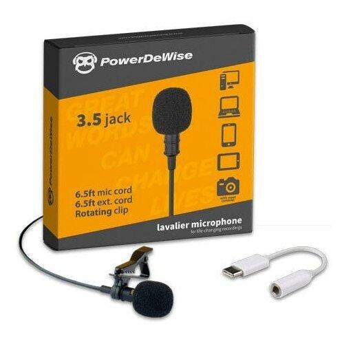 Микрофон PowerDeWise петличный с адаптером Type-C, черный